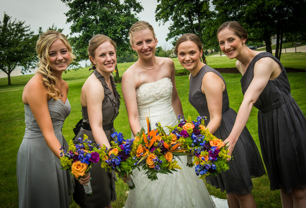 Bridal Party with Bouquets]