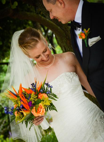 [Image: A brightly colorful tropical bridal bouquet]