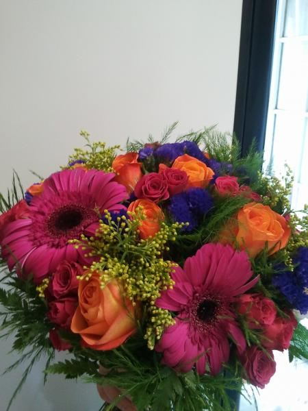 gerbera daisies and colorful flower brides bouquet