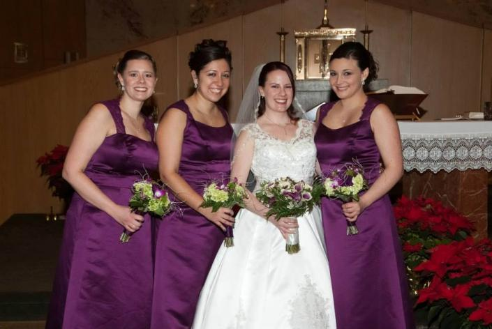 [Image: Bright bold colors add flair to dark plum wedding dresses]
